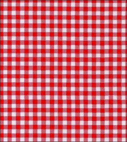 "55"" Wide Gingham - Red Oilcloth Fabric"