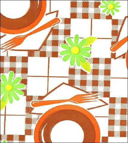 Picnic Brown Orange Oilcloth