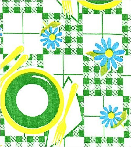 Picnic Green Yellow Oilcloth
