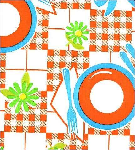 Picnic Orange Blue Oilcloth