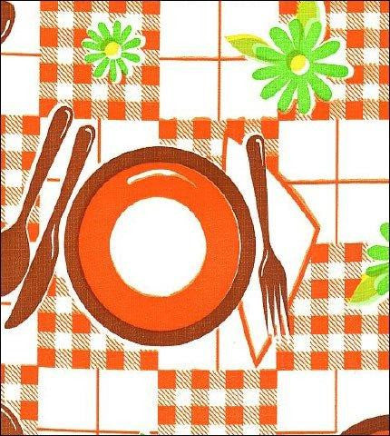 Picnic Orange Brown Oilcloth Roll
