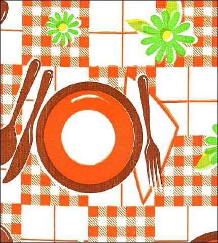 Picnic Orange Brown Oilcloth