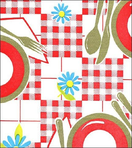 Picnic Red Gold Oilcloth