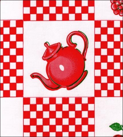 Teapot Red Oilcloth