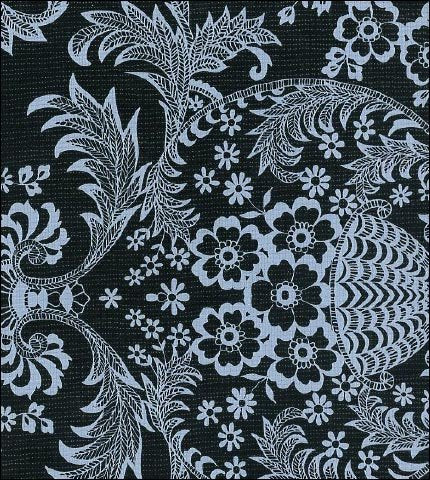 Toile White on Black Oilcloth