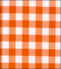 Gingham . Large Orange Oilcloth Fabric