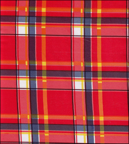 Plaid Red and Blue Oilcloth By The Yard