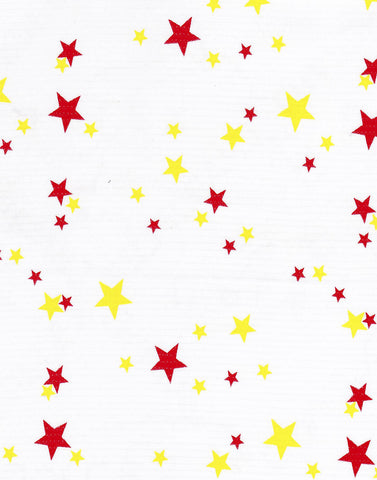 Stars Red and Yellow Oilcloth Fabric