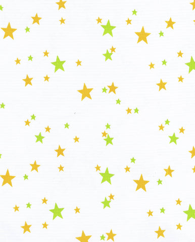 Stars Lime and Orange Oilcloth Fabric