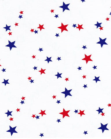 Red White and Blue Stars Oilcloth Fabric