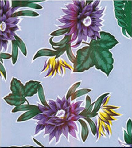 Tropical Flower Purple Oilcloth Fabric Roll