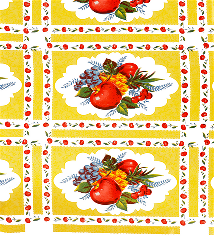 Country Apple Yellow on White Oilcloth