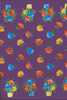 Flowerpot Purple Oilcloth Fabric Roll