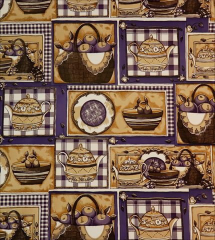 Kitchen Purple Oilcloth Fabric
