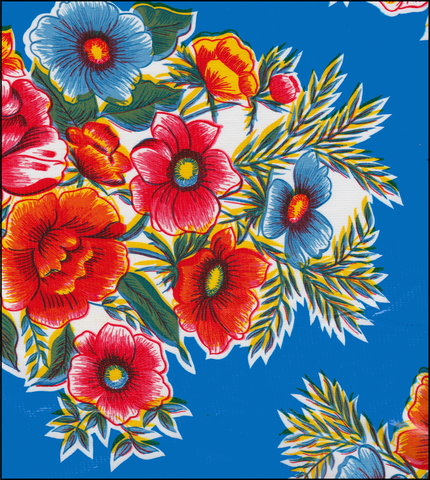 Flowers on Blue Oilcloth Fabric