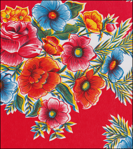 Flowers on Red Oilcloth Fabric