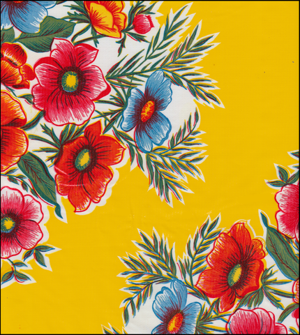 Flowers on Yellow Oilcloth Fabric