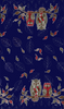 Owls on Blue Oilcloth Fabric