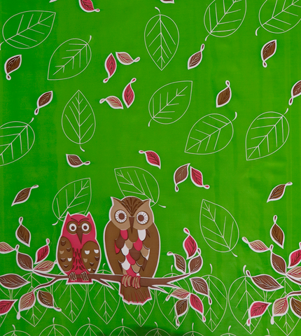 Owls on Green Oilcloth Fabric