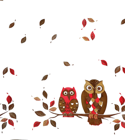 Owls on White Oilcloth Fabric