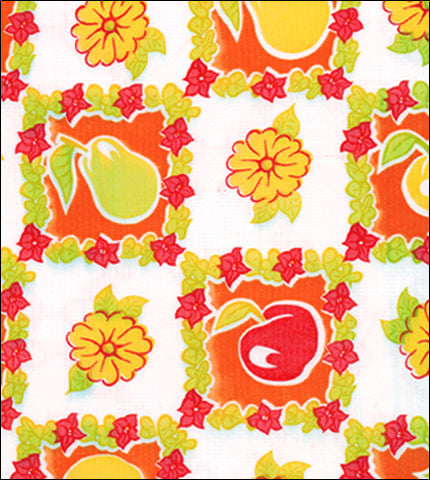 Pears and Apples Orange Oilcloth