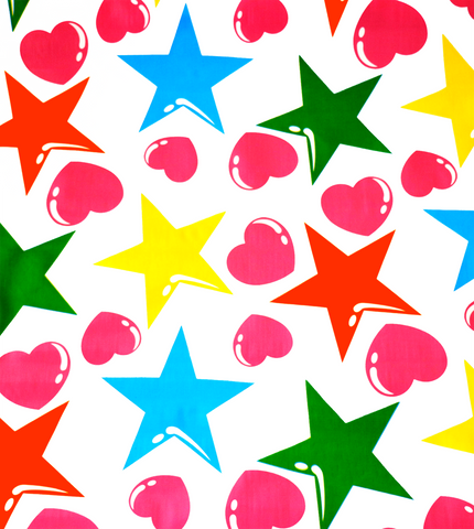 Hearts and Stars in Pink and Orange Oilcloth