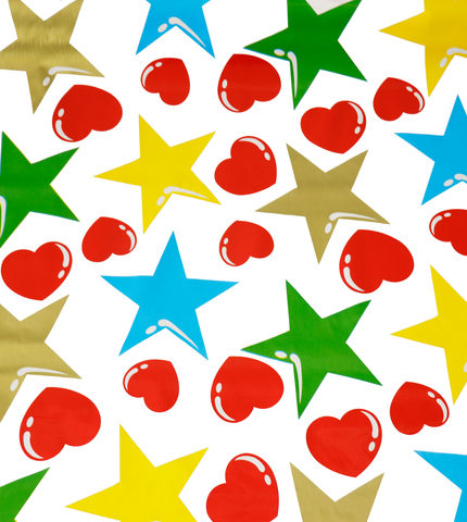 Hearts and Stars Red and Gold Oilcloth Fabric