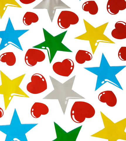 Hearts and Stars Red and Silver Oilcloth Fabric