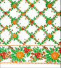 Rose Vine Orange Oilcloth Fabric