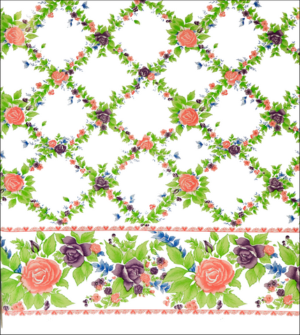 Rose Vine Pink Oilcloth Fabric
