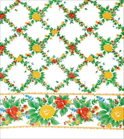 Rose Vine Yellow Oilcloth Fabric