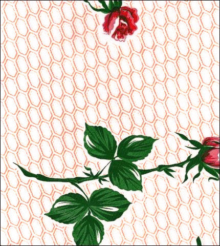 Rose and Stem Terracotta Oilcloth