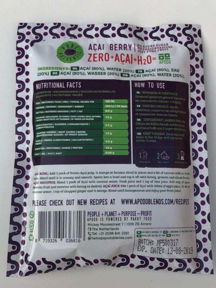 5 Packs of Frozen Unsweetened Açai pulp