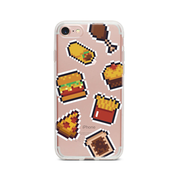 Fast Food 8-Bit Pixel - Clear Phone Case Cover