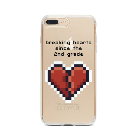 Heartbreaker 8-Bit Pixel - Clear Phone Case Cover