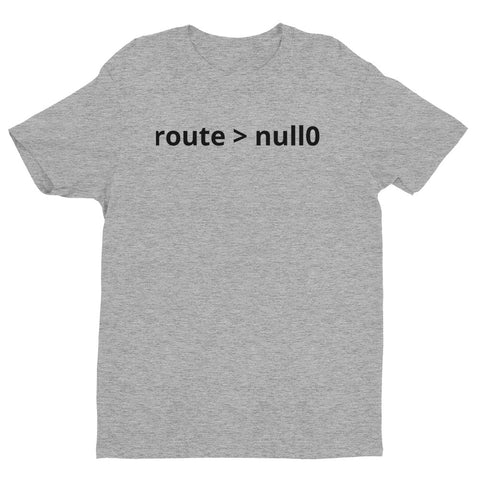 """Route &gt null0"".  Short Sleeve T-shirt for Network Engineers"