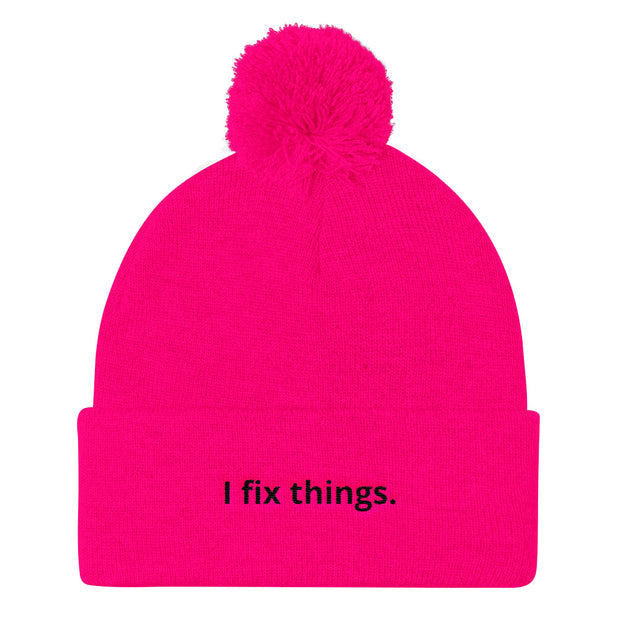"""I fix things."" Pom Pom Geeky Knit Cap"