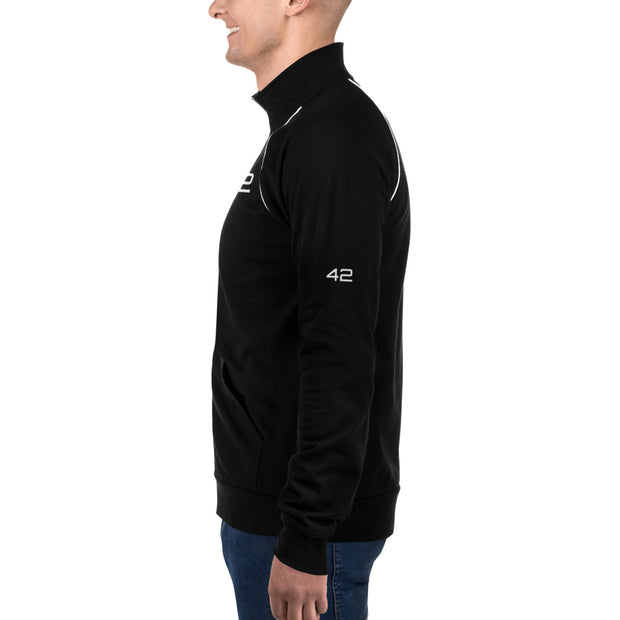 """42"".  Piped Fleece Jacket for Geeks, SysAdmins, and Engineers.  Small V[o]A logo on back."