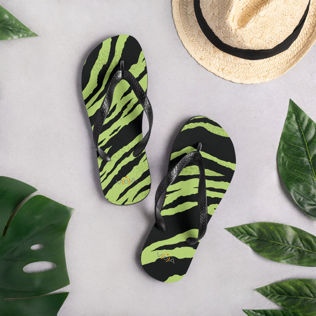 Green Tiger Flip-Flops with V[o]A logo.