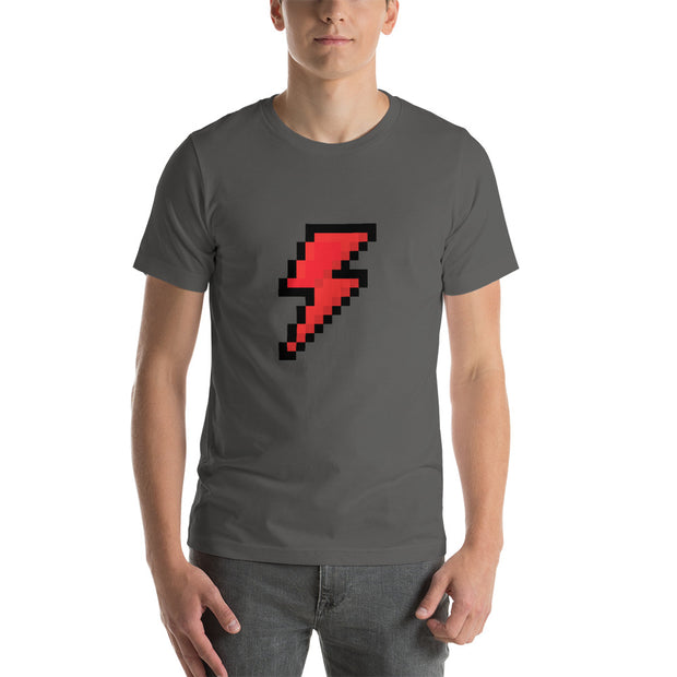 Red 8-bit lightning bolt.  Short-Sleeve T-Shirt for Geeks and Gamers.