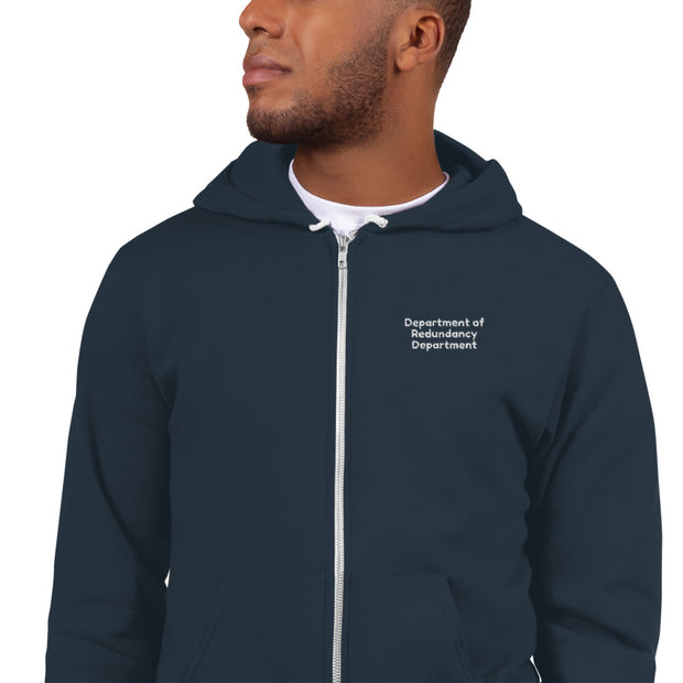 """Department of Redundancy Department"" Embroidered Hoodie for Uber Geeks"