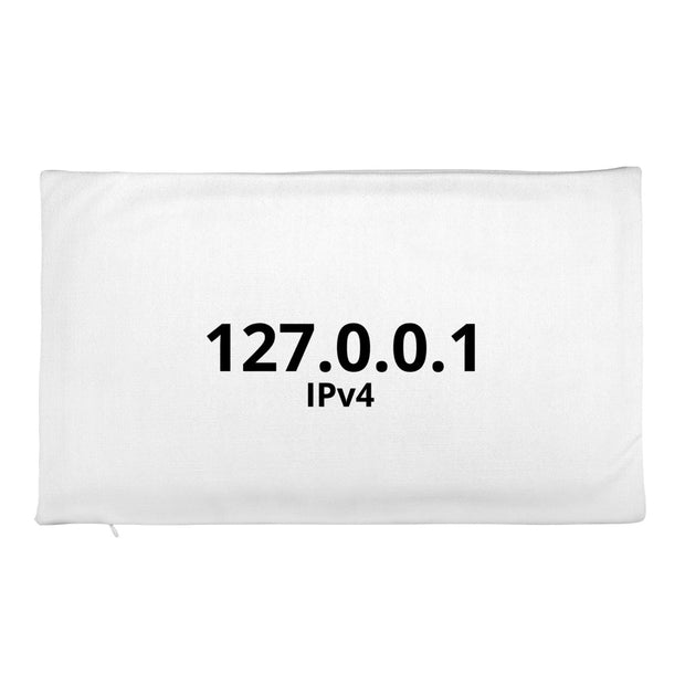 """127.0.0.1 IPv4"" on front and ""::1 IPv6"" on back.  Premium Throw Pillow Case only.  For Network Engineers and SysAdmins."