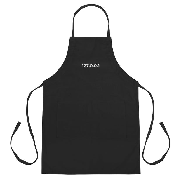"""127.0.0.1"" Embroidered Apron for Geeks, Net Admins, and Engineers"