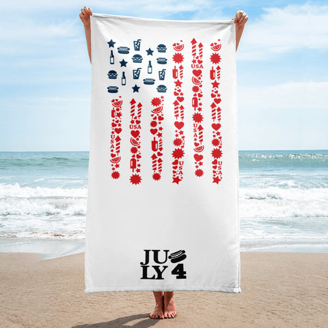 US flag in icons and July 4th Beach Towel