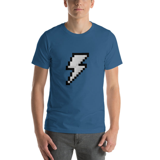 Gray 8-bit lightning bolt.  Short-Sleeve T-Shirt for Geeks and Gamers.