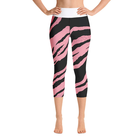Women's Yoga Capri Leggings.  Pink Tiger print.