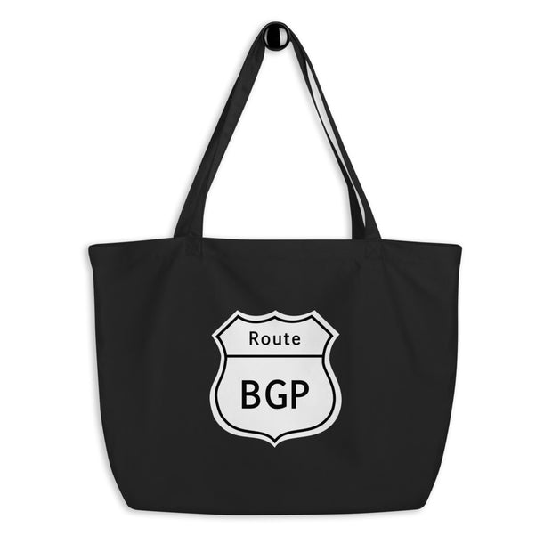 """Route BGP"" large organic tote bag for Network Engineers and Geeks"