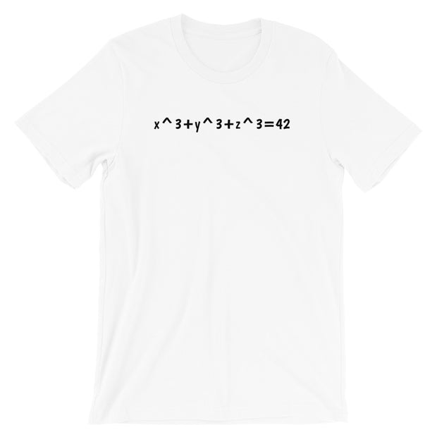 """x^3+y^3+z^3=42"".  Short-Sleeve T-Shirt"