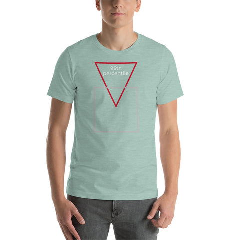 """95th percentile"" triangle/square for Geeks.  Short-Sleeve T-Shirt"