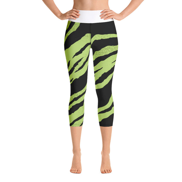 Women's Yoga Capri Leggings.  Green Tiger print.